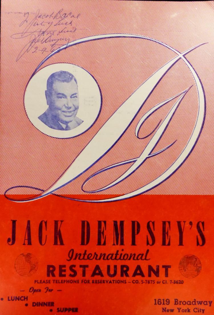 Heavywgt Champ JACK DEMPSEY - Menu Signed