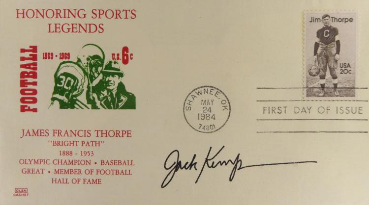 Quarterback, Politician JACK KEMP - Postal Cvr Signed