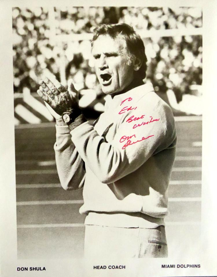 Dolphins Coach DON SHULA - Photo Signed