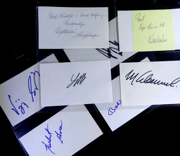 GOLFERS - Five Cards Signed