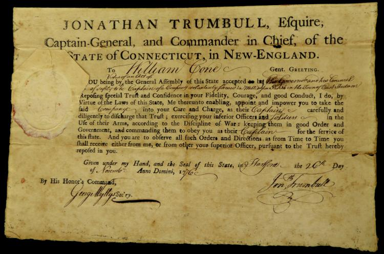 Gov JONATHAN TRUMBULL - Appointment Signed