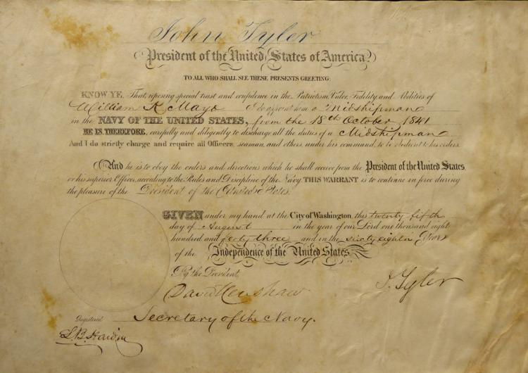 10th Pres JOHN TYLER - Naval Appointment Signed