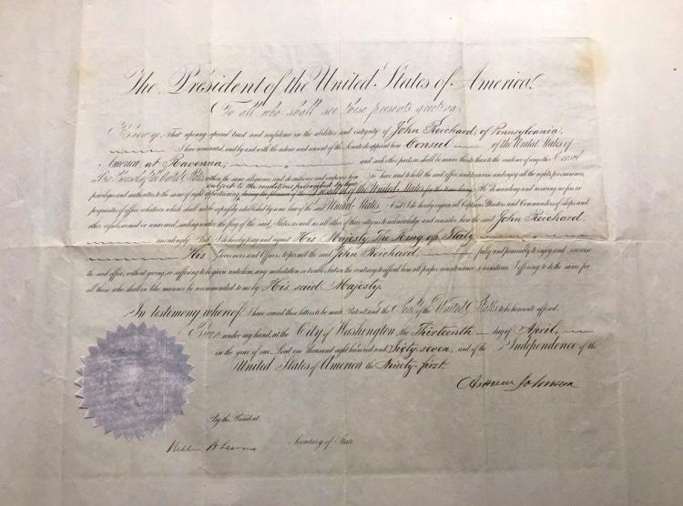 17th Pres ANDREW JOHNSON - Appointment Signed