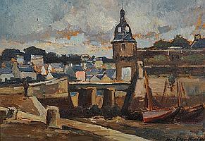 """Marcel PARTURIER (1901-1975) """"""""Concarneau, barques"""