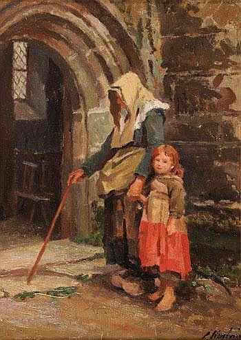 Emma HERLAND (1856-1947) *Fillette et sa