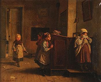 Emma HERLAND (1856-1947) *Les quatre écolières