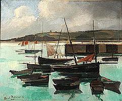 """Marcel PARTURIER (1901-1976) """"Douarnenez, barques"""