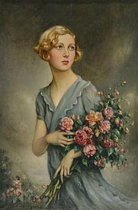 """Jules CAYRON (1868-1940) """"Elégante au bouquet"""" hst"""