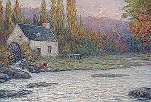 """Louis RIDEL (1866-1937) """"Lavandières près du"""