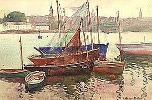"Jules Herve MATHE (1868-1953) ""Tréboul, barques"