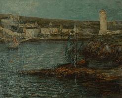 """Louis RIDEL (1866-1937) """"Doëlan au clair de lune"""""""