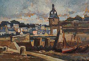 """Marcel PARTURIER (1901-1975) """"""""Concarneau,barques"""