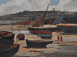 """Marcel PARTURIER (1901-1975) """"Marine barques au"""
