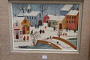 Jacques HARA (Né en 1933) Village sous la neige,