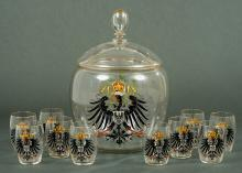 Imperial German Prussian Punch Bowl with Cups