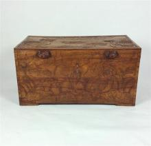 19th C. Chinese Carved Camphorwood Trunk