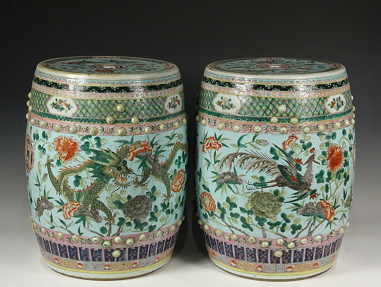 PAIR OF CHINESE PORCELAIN GARDEN SEATS   Fine And Unusual Chinese Garden  Barrels, Mid 19th
