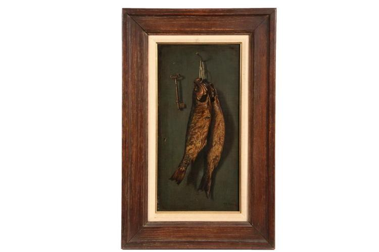 WILLIAM KEANE (NJ, active 1880-1895) - Trompe l'Oeil with Hanging Fish and Keys, oil on panel, signed lower right, with Berry-Hill Galleries of NYC Label verso. In walnut panel frame with linen and gilt liner. OS: 25