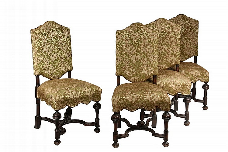Set Of 12 Custom Dining Chairs Mahogany Jacobean Style U