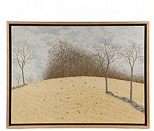 """ALAN BRAY (ME, 1946 - ) - """"End of Autumn"""", 2004, casein on panel, signed lower right """"AA Bray"""", titled and dated on Caldbeck Gallery of Rockland, Maine label verso. In poplar shadow line box frame. OS: 19 3/4"""" x 25 3/..."""