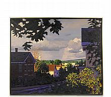 """MELISSA ANNE MILLER (Contemporary Concord, NH) - """"Blue House, oil on canvas, unsigned. Black slat frame with gold edge, shadow line. OS: 29"""" x 35"""", SS: 28"""" x 34"""". Fine condition."""
