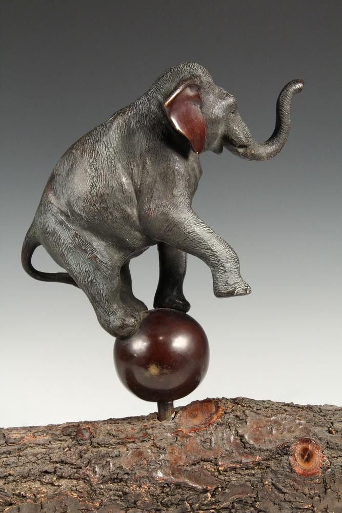 JAPANESE BRONZE SCULPTURE - Okimono Circus Elephant Standing