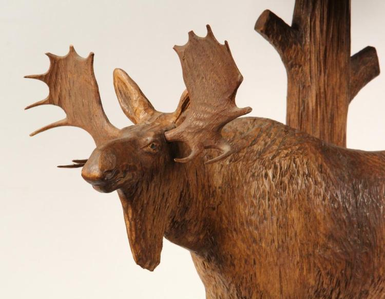 Folk art wood carving as lamp large standing moose by arth