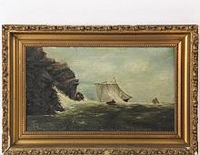 """UNIDENTIFIED MARINE ARTIST - """"A Close Shave"""", oil on canvas, initialed lower left """"HR"""", titled verso and marked """"Copy from Stancliff"""" (John Wells Stancliff, CT, 1814-1879), circa 1890, in the original gold gesso frame..."""