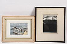 """(2) MAINE PRINTS - Including: """"Stonington"""", by AIDA WHEDON (NY, 1915-1993), aquatint color etching, signed and marked AP, in oak frame with linen liner, gilt lip, glazed, OS: 13"""" x 16"""", impression: 5 3/4"""" x 8 1/2""""; PL..."""