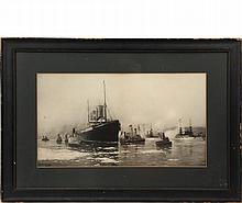 FRED PANSING (NJ, 1844-1912) - Arrival of the ocean liner 'Kronprinz Wilhelm' in New York, February 232, 1902; black and white lithograph on paper, signed in the image lower left. The great ship is entering the ice st...