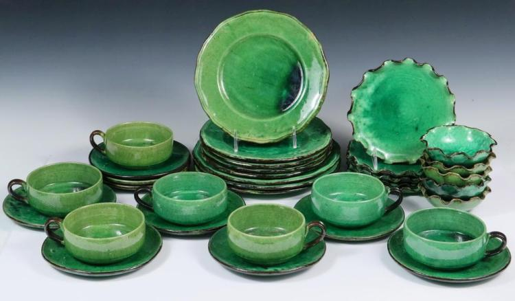 FRENCH POTTERY DISHES- (34) Pieces of Handmade French Green Glazed Earthenware Dinnerware & FRENCH POTTERY DISHES- (34) Pieces of Handmade French Green