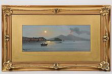 """ANTONIO COPPOLA (Italy, 1839-after 1916) - View of Naples and Mount Vesuvius at Night, signed """"A. COPPOLA"""" lower left, a Grand Tour gouache painting, marked verso """"Bought by Dad, Italy, 1908"""", in the original gold pai..."""