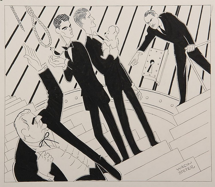 INK ILLUSTRATION - Caricature by George Wachsteter (1911-2004), for the Broadway drama 'Compulsion' at the Ambassador Theratre, with Frank Conroy, Dean Stockwell, Roddy McDowall & Howard da Silva, 11