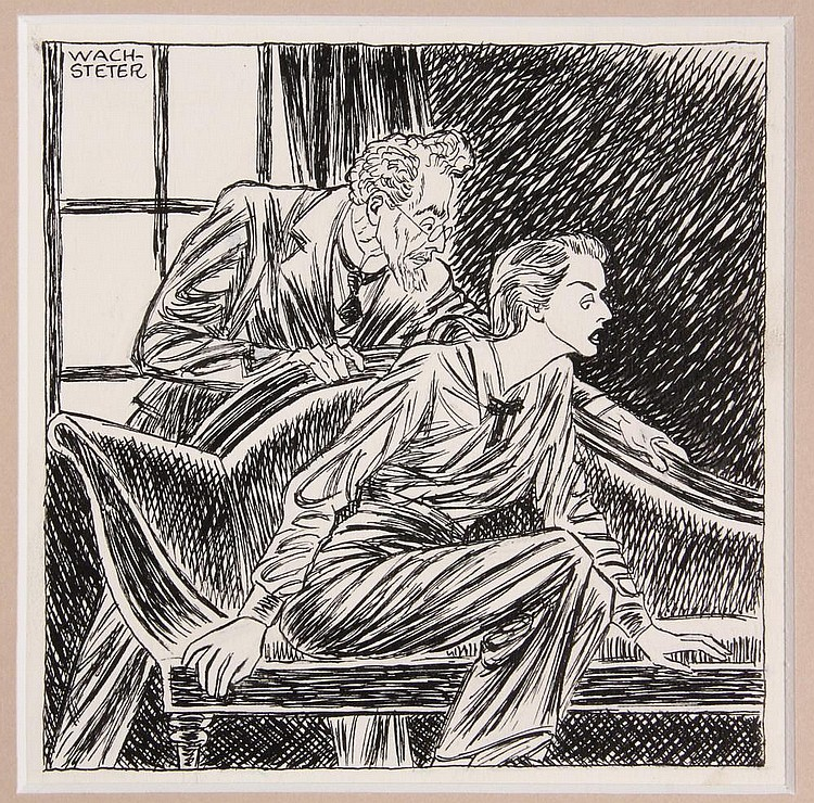 PEN & INK ILLUSTRATION - Drawing by George Wachsteter (1911-2004), of Sam Jaffe & Ruth Ford in the Broadway drama 'This Time Tomorrow' at the Ethel Barrymore Theatre, Nov, 1947. 5