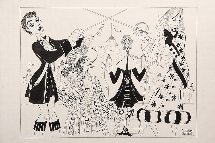 PEN & INK ILLUSTRATION - Caricature by George Wachsteter (1911-2004), of the Old Vic's production of 'Twelfth Night', on Broadway, starring Barbara Jefford as Viola and John Neville as Aguecheek, 12 3/4