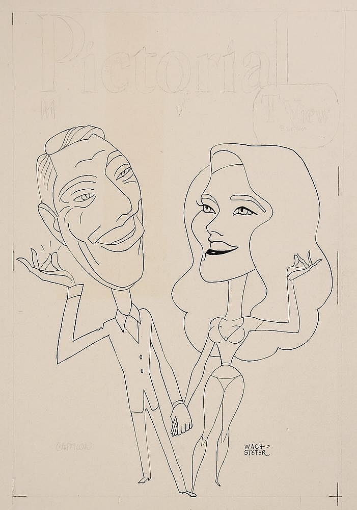 CARICATURE - George Wachsteter (1911-2004) Ink on Illustration Board Caricature Portraits of Andy Williams and Ann Margret to promote The Andy Williams Special, aired over NBC-TV on Friday, May 4, 1962, 9:30-10:30 p