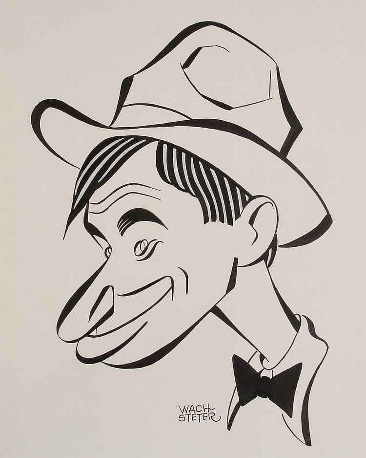 PEN & INK ILLUSTRATION - Caricature by George Wachsteter (1911-2004), of humorist Will Rogers, (1879-1935), posssibly done as a promo for the 1952 Warner Bros bio pic 'The Story of Will Rogers', 15