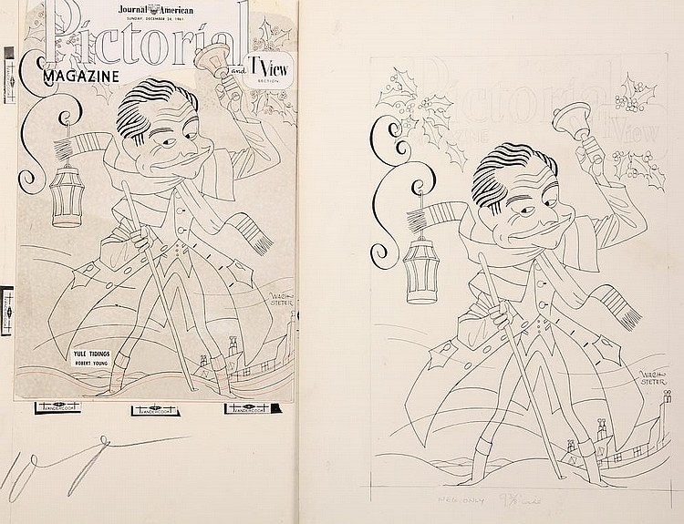CARICATURE - George Wachsteter (1911-2004) Ink on Illustration Board Caricature Portrait of Robert Young ringing in holiday cheer and getting into the spirit in his role as Cameron 'Cam' Garrett Brooks, 14 1/4