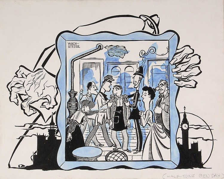 PEN & INK ILLUSTRATION - Caricature by George Wachsteter (1911-2004), for 'The Stranger', Feb 1945 Broadway production at Playhouse Theatre starring Eduard Franz, Kim Spaulding & Eva Leonard-Boyne, 10