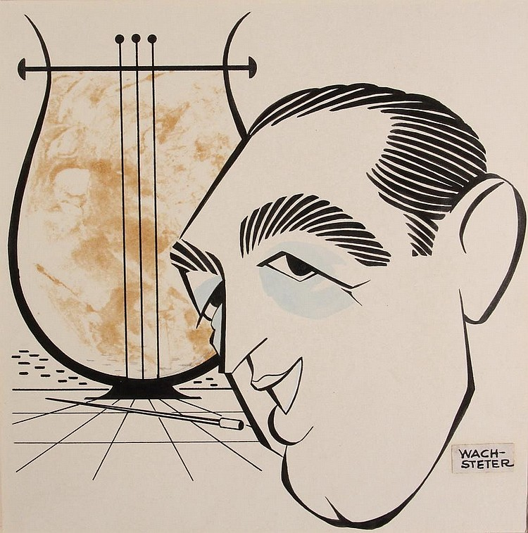 PEN & INK ILLUSTRATION - Caricature by George Wachsteter (1911-2004), of Percy Faith (1908-1976), Canadian Bandleader & Grammy Award Winner, dated June 1950, 8 1/2