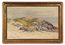 EDWARD A. PAGE (MA, 1850-1928) - The Last Painting, oil on canvas, signed ll & dated 1928, a typical coastal study in hand carved gold