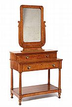 DRESSING TABLE - Bird's-eye Maple Vanity, probably New Hampshire, ca 1840, Regency influenced, lyre yoke mirror atop two drawer set-ba
