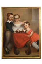 UNKNOWN ARTIST - Life-Sized Primitive Portrait of Three New England Siblings, oil on canvas, unsigned, ca 1830, the older brother & sis