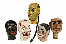 (5) FOLK ART MARIONETTE HEADS - Late 19th c