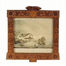 FOLK ART FRAMED SILKWORK - Schoolgirl Silkwork of Lakeside Stone Home, in hand carved oak frame featuring an eagle crest, agricultural