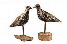 (2) SHORE BIRD DECOYS - Late 19th c. Maine made Folk Art Wooden Decoys with sponged paint decoration, set into later driftwood bases. B