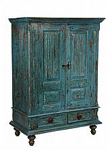 PAINTED CUPBOARD - Hardwood cupboard in dump cart blue paint, having deep molded cornice, two door at top having two panels each, the u