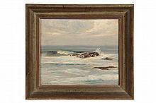 """EDWARD A. PAGE (MA, 1850-1928) - Seascape, oil on academy board, signed in pencil lower left """"EA Page, 1916"""". In a faux driftwood frame"""