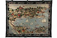 HISTORIC MARBLEHEAD, MASSACHUSETTS HOOKED RUG - 57