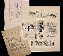 COLLECTION CLIPPED ARTWORK - Published Illustrations by Francis Gilbert Attwood (MA, 1856-1900), inc: (67) 'Life' covers; Leaflet & (